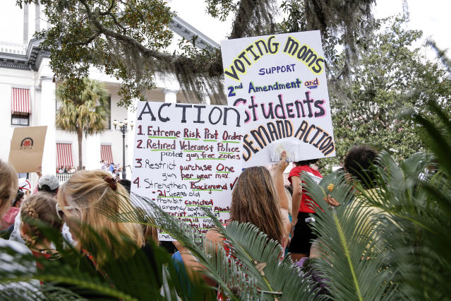 <p>Activists and students from Marjory Stoneman Douglas High School attend a rally at the Florida State Capitol building to address gun control on Feb. 21, 2018 in Tallahassee, Fla. (Photo: Don Juan Moore/Getty Images) </p>