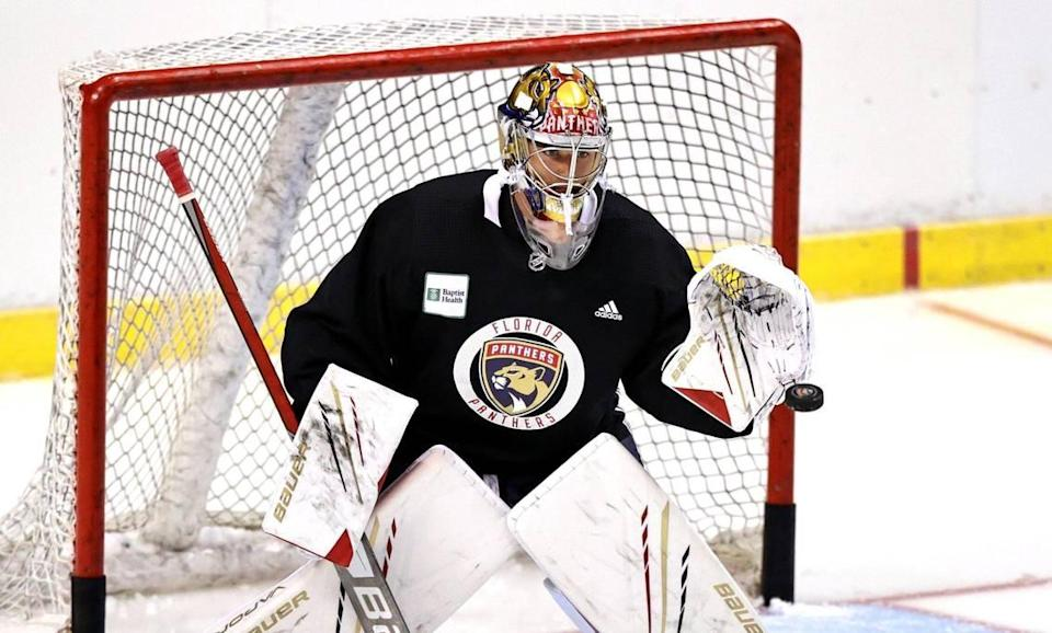 Florida Panthers goaltender Spencer Knight (30) makes a save during training camp in preparation for the 2021-22 NHL season at the FLA Live Arena on Thursday, September 23, 2021 in Sunrise, Florida.