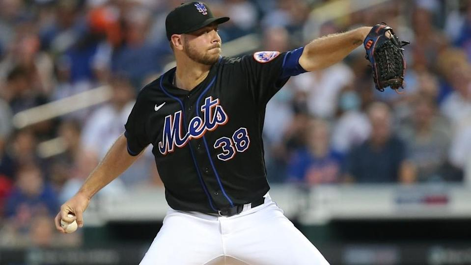 Aug 13, 2021; New York City, NY, USA; New York Mets starting pitcher Tylor Megill (38) pitches against the Los Angeles Dodgers during the second inning at Citi Field.