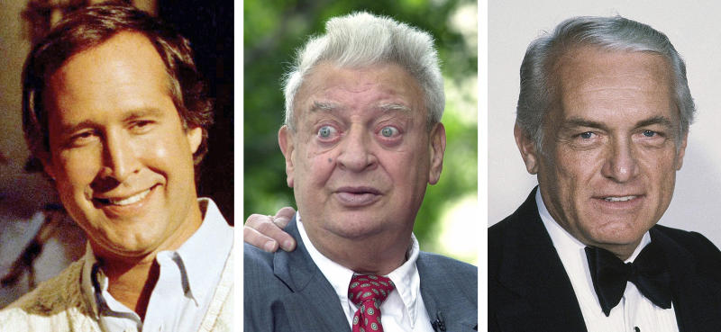 """FILE - From left are file photos showing Chevy Chase in 1986, Rodney Dangerfielkd in 2002 and Ted Knight in 1981. """"Caddyshack,"""" the film that sparked countless oft-repeated quotes, most of them made up on the fly by comic geniuses and movie headliners Bill Murray, Chevy Chase, Rodney Dangerfield and Ted Knight, has been out for 40 years and hasn't lost one bit of its popularity. Caddyshack was selected as the No. 4 — fore? — film in The Associated Press' list of all-time top sports movies. (AP Photo/File)"""