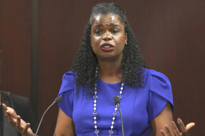 FILE - In this Aug. 27, 20119 file photo, Cook County State's Attorney Kim Foxx speaks at a news conference in Chicago. The latest twist in the Jussie Smollett saga is the revelation of a possible conflict of interest by the special prosecutor investigating why prosecutors dropped charges accusing the actor of staging a racist, homophobic attack on himself. Dan Webb disclosed this week he once co-hosted a political fundraiser for a figure central to his investigation, Cook County State's Attorney Kim Foxx. A Cook County judge must now decide if bias or the appearance of bias renders Webb's position untenable. (AP Photo/Teresa Crawford File)
