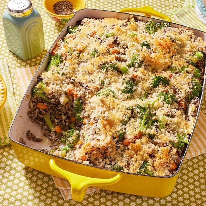 """<p>If you've never cooked with wild rice before, it's the ingredient that gives this gorgeous casserole a slightly chewy texture and unique rustic flavor that's perfect for the holidays.</p><p><strong><a href=""""https://www.thepioneerwoman.com/food-cooking/recipes/a11294/broccoli-wild-rice-casserole/"""" rel=""""nofollow noopener"""" target=""""_blank"""" data-ylk=""""slk:Get Ree's recipe."""" class=""""link rapid-noclick-resp"""">Get Ree's recipe.</a> </strong></p>"""