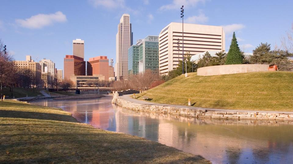 Frozen pond in a park in downtown Omaha.