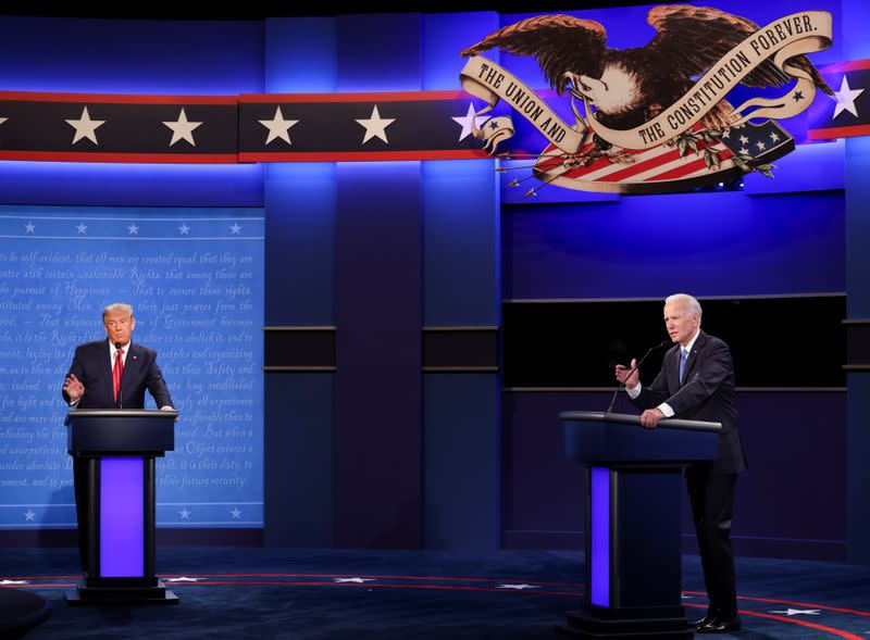 FILE PHOTO: President Trump and Democratic presidential nominee Biden participate in their second debate in Nashville