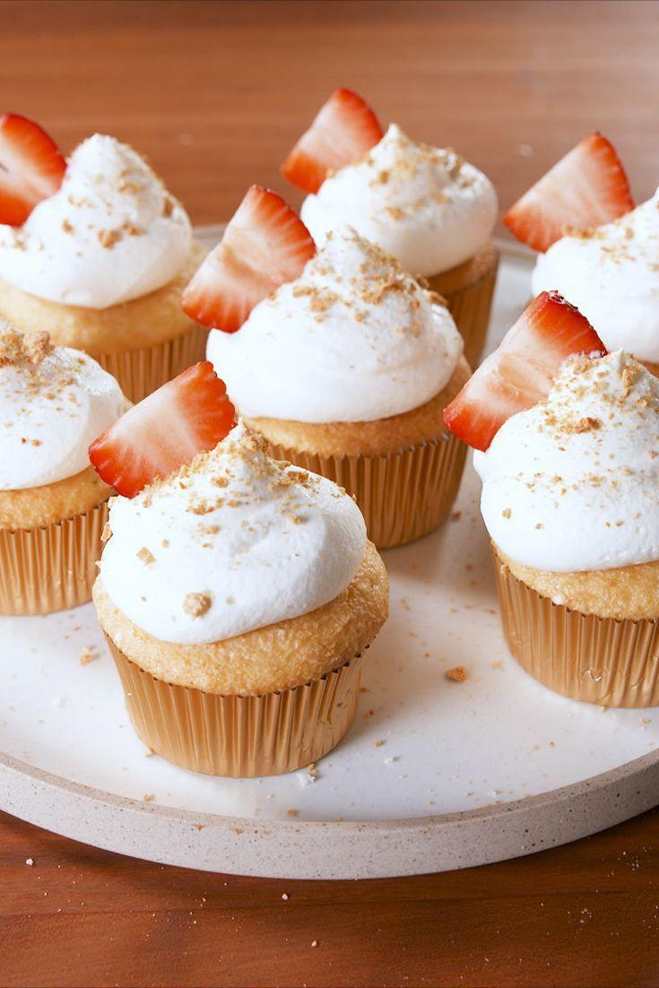 """<p>The struggle of choosing between a slice of cheesecake or a cupcake is now over. Take a bite and discover a hidden creamy center.</p><p><em><a href=""""https://www.delish.com/cooking/recipe-ideas/a19712943/strawberry-cheesecake-stuffed-cupcakes-recipe/"""" rel=""""nofollow noopener"""" target=""""_blank"""" data-ylk=""""slk:Get the recipe from Delish »"""" class=""""link rapid-noclick-resp"""">Get the recipe from Delish »</a></em></p>"""