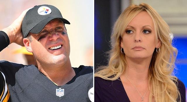 Ben Roethlisberger; Stormy Daniels. (Getty Images)