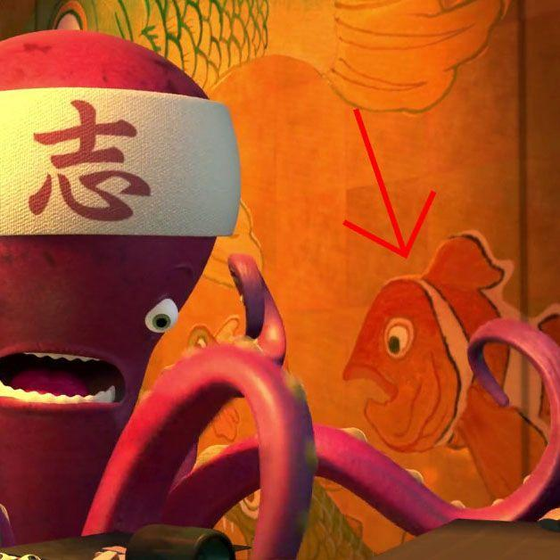 "<p>Nemo makes a few appearances in <em>Monsters, Inc. </em>before he got his big debut in <em>Finding Nemo</em>. The most obvious one is when Sully gives Boo a stuffed Nemo doll, but there's also a cleverly concealed clownfish on the wallpaper at one of Monstropolis' sushi restaurants. (The restaurant is called Harryhausen's, after <a href=""https://pixar.fandom.com/wiki/Harryhausen%27s"" rel=""nofollow noopener"" target=""_blank"" data-ylk=""slk:stop-motion animator Ray Harryhausen"" class=""link rapid-noclick-resp"">stop-motion animator Ray Harryhausen</a>, who worked on films like <em>Clash of the Titans</em>.) </p>"