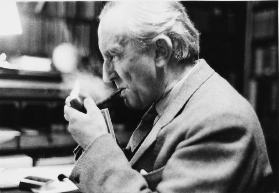 English writer J. R. R. Tolkien (John Ronald Reuel Tolkien, 1892 - 1973) in his study at Merton College, Oxford, 2nd December 1955. He has been Merton Professor of English Language and Literature since 1945. Original Publication : Picture Post - 8464 - Professor J R R Tolkien - unpub. (Photo by Haywood Magee/Picture Post/Hulton Archive/Getty Images)