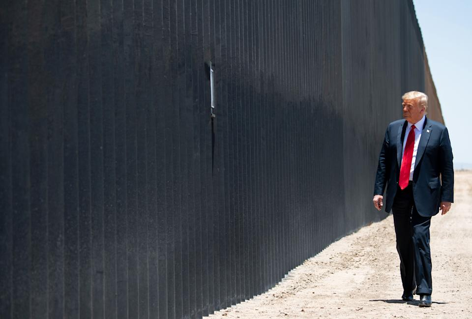 US President Donald Trump participates in a ceremony commemorating the 200th mile of border wall at the international border with Mexico in San Luis, Arizona, June 23, 2020. (Saul Loeb/AFP via Getty Images)