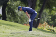 Jordan Spieth reacts to his shot from the 15th fairway during the final round of the Charles Schwab Challenge golf tournament at the Colonial Country Club in Fort Worth, Texas Sunday, May 30, 2021. (AP Photo/Michael Ainsworth)