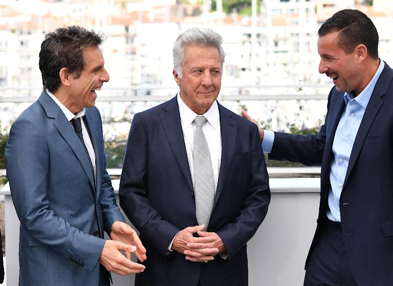 US actor Adam Sandler (right), often ridiculed for comedies like 'Happy Gilmour', plays the unemployed son of a New York sculptor (Dustin Hoffman, centre) who suffers in the shadow of his successful young brother (Ben Stiller, left) (AFP Photo/Alberto PIZZOLI)