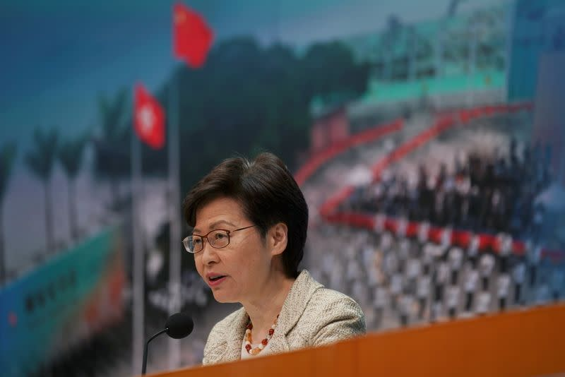 Hong Kong Chief Executive Carrie Lam speaks at a news conference in Hong Kong