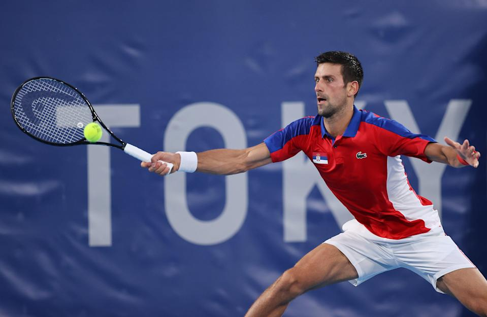 Novak Djokovic of Serbia plays a forehand during his Men's Singles Semifinal match against Alexander Zverev of Germany.