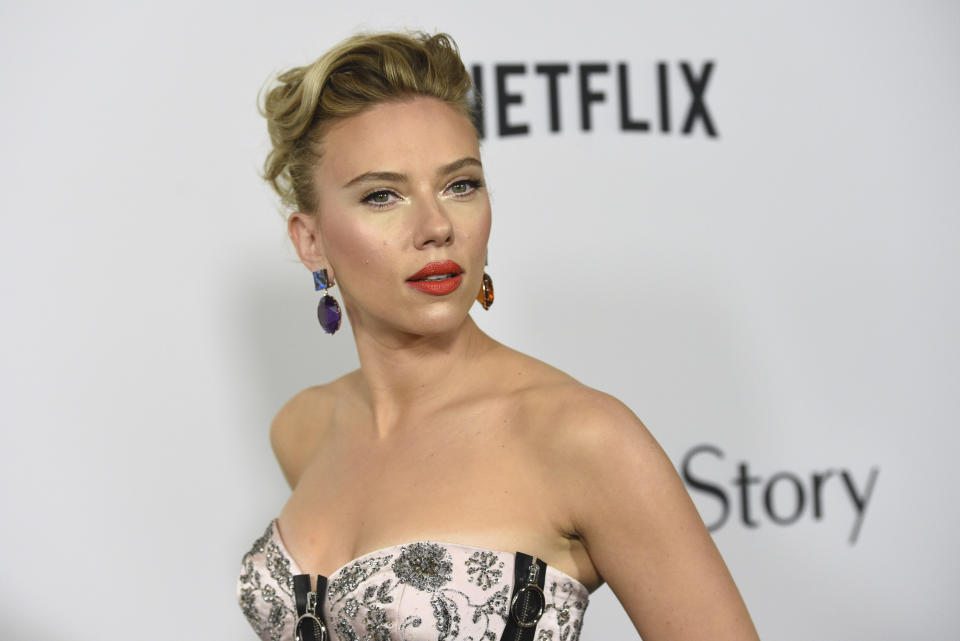 "Scarlett Johansson arrives at the Los Angeles premiere of ""Marriage Story"" at the Directors Guild of America Theater on Tuesday, Nov. 5, 2019. (Photo by Chris Pizzello/Invision/AP)"