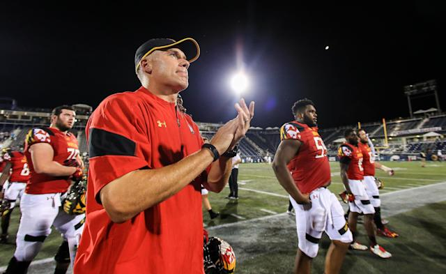 "One former player rushed to defend Maryland coach D.J. Durkin after a pair of reports detailed a ""toxic culture"" surrounding the Terrapins' football program on Friday. (Getty Images)"