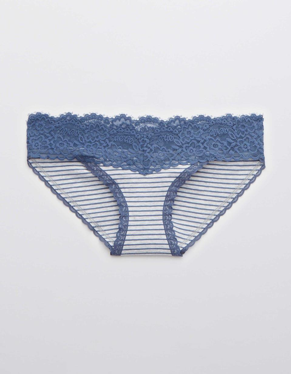 """<p><strong>Aerie</strong></p><p>ae.com</p><p><strong>$8.95</strong></p><p><a href=""""https://go.redirectingat.com?id=74968X1596630&url=https%3A%2F%2Fwww.ae.com%2Fus%2Fen%2Fp%2Faerie%2Fundies%2Fbikini-underwear%2Faerie-cotton-eyelash-lace-bikini-underwear%2F3441_6423_417%3Fmenu%3Dcat4840006&sref=https%3A%2F%2Fwww.oprahmag.com%2Fstyle%2Fg34128359%2Fcomfortable-underwear-for-women%2F"""" rel=""""nofollow noopener"""" target=""""_blank"""" data-ylk=""""slk:SHOP NOW"""" class=""""link rapid-noclick-resp"""">SHOP NOW</a></p><p>You can depend on Aerie for comfort, so you know their bestselling undies must be something special. The lightweight soft and stretchy cotton pair has an attractive lace waistband and center-back ruching to hug your booty. As a bonus, the brand sells matching bralettes, too. </p>"""