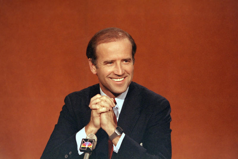 "FILE - In this April 29, 1984, file photo Sen. Joe Biden, D-Del., is shown on NBC's ""Face the Nation,"" in Washington. Biden has won the last few delegates he needed to clinch the Democratic nomination for president. (AP Photo, File)"