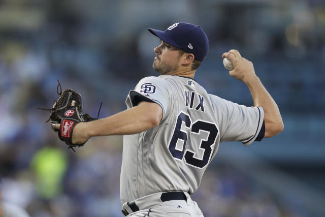 San Diego Padres starting pitcher Jacob Nix throws to a Los Angeles Dodgers batter during the first inning of a baseball game Saturday, Sept. 22, 2018, in Los Angeles. (AP Photo/Jae C. Hong)