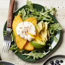 """<p>Precooked polenta makes this savory healthy breakfast a breeze. Serving the easy poached eggs on a bed of arugula is a wonderful way to get a head start on your daily vegetable intake. <a href=""""http://www.eatingwell.com/recipe/276962/polenta-cakes-with-poached-eggs-avocado/"""" rel=""""nofollow noopener"""" target=""""_blank"""" data-ylk=""""slk:View recipe"""" class=""""link rapid-noclick-resp""""> View recipe </a></p>"""
