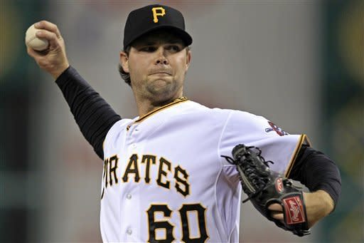 Pittsburgh Pirates starting pitcher Kyle McPherson delivers during the first inning of a baseball game against the Cincinnati Reds in Pittsburgh on Saturday, Sept. 29, 2012. (AP Photo/Gene J. Puskar)