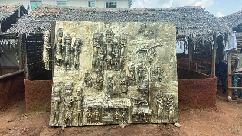FILE PHOTO: The work depicting Oba Ewuare Ogidigan, ruler of Benin Kingdom 1440-1473 is seen on display during the unveiling of Lucas Osarobo- Okoro's largest bronze work in Benin
