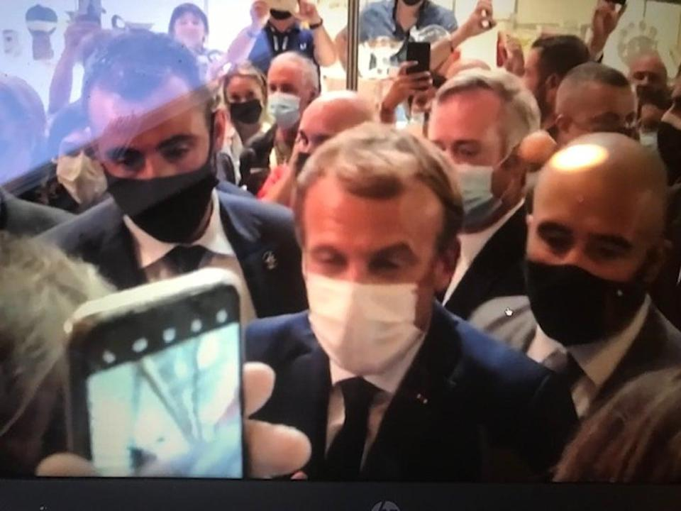 An egg was hurled at President Macron (Reuters)