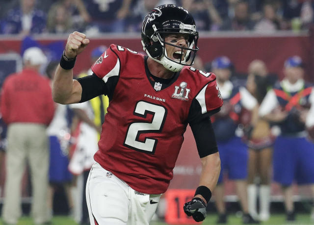 FILE - In this Feb. 5, 2017, file photo, Atlanta Falcons' Matt Ryan celebrates after a touchdown during the second half of the NFL Super Bowl 51 football game against the New England Patriots in Houston. Ryan has agreed to a five-year contract extension with the Falcons, the team announced Thursday, May 3, 2018, without revealing terms. (AP Photo/Eric Gay, File)