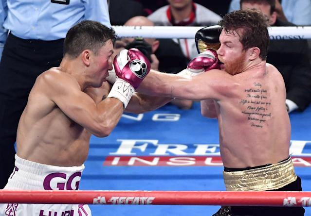 Gennady Golovkin hits Canelo Alvarez Saturday during their rematch at T-Mobile Arena in Las Vegas. (Getty Images)
