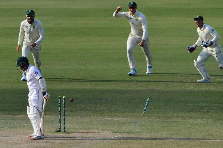 The stump flies as Pakistan's Abid Ali is bowled by Kagiso Rabada in Karachi in the first Test against South Africa