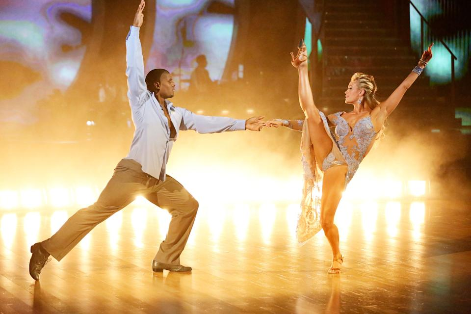 Michael Sam performs with Peta Murgatroyd on Dancing with the Stars. (Getty Images)