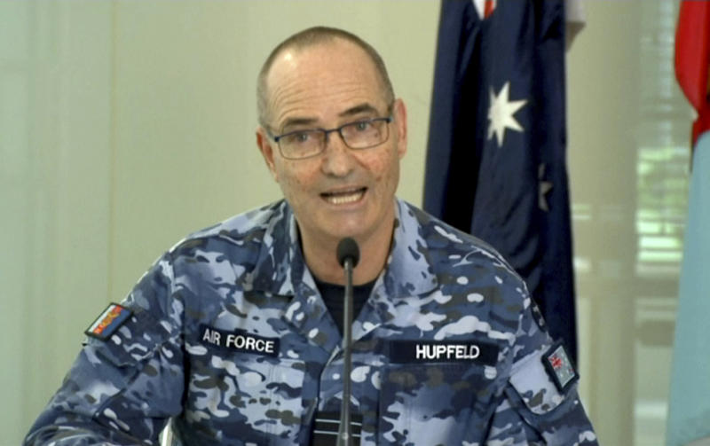 In this image made from video provided by Australian Department of Defence, Australian Defense Force Chief of Joint Operations, Air Marshall Mel Hupfeld talks to journalists in Canberra on Friday, Oct. 12, 2018. Australia has assigned a guided missile frigate to the East China Sea to boast international efforts to enforce sanctions against North Korea, an Australian officer said on Friday. Hupfeld said the warship with a crew of 230 will be supported by two Australian AP-3C Orion surveillance aircraft based in Japan.(Australian Department of Defence via AP)