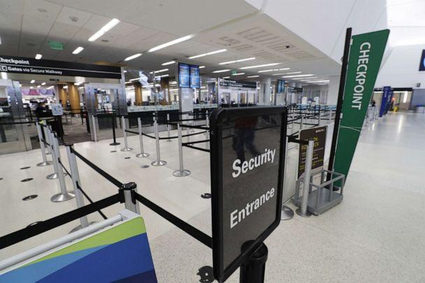PHOTO: An empty queue at pre-security at the nearly empty San Francisco International Airport, due to the outbreak of coronavirus and COVID-19, in San Francisco, Calif., April 6, 2020. (John G. Mabanglo/EPA via Shutterstock)