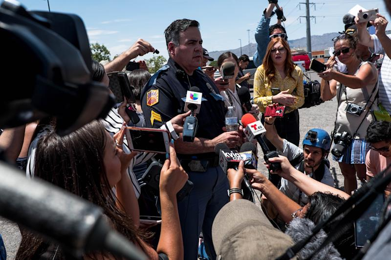 El Paso Police Department Sgt. Robert Gomez briefs media on a shooting that occurred at a Wal-Mart near Cielo Vista Mall in El Paso, Texas, on August 3, 2019. (Photo: Joel Angel Juarez/AFP/Getty Images)