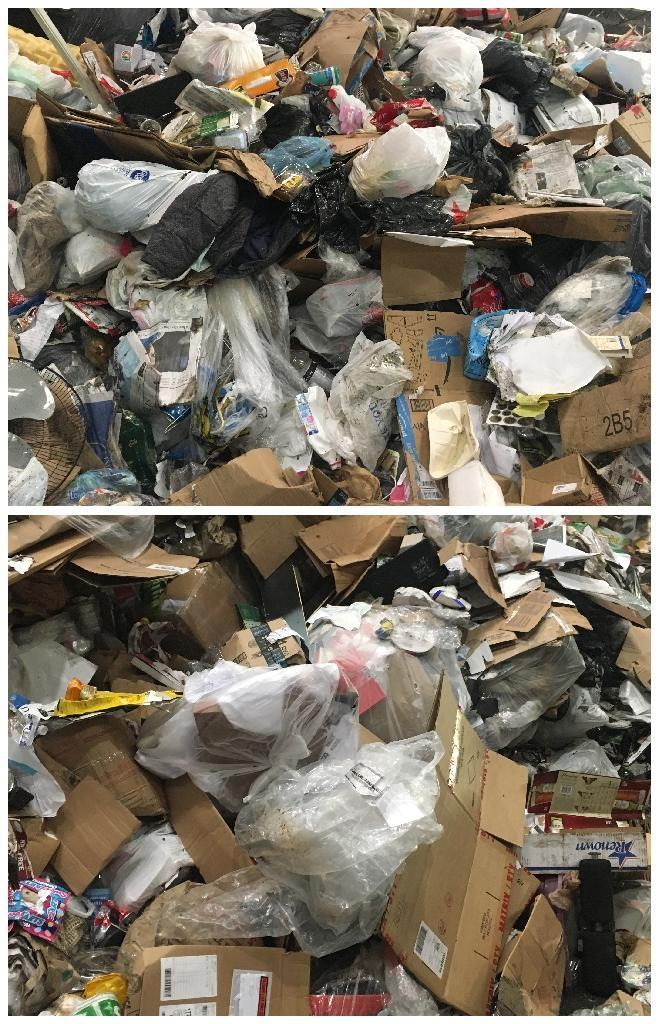 At the top, an unrecycled trash pile at the Fort Totten Transfer Station. At the bottom, a pile of recyclable waste, still containing many plastic bags (AFP Photo/Ivan Couronne)
