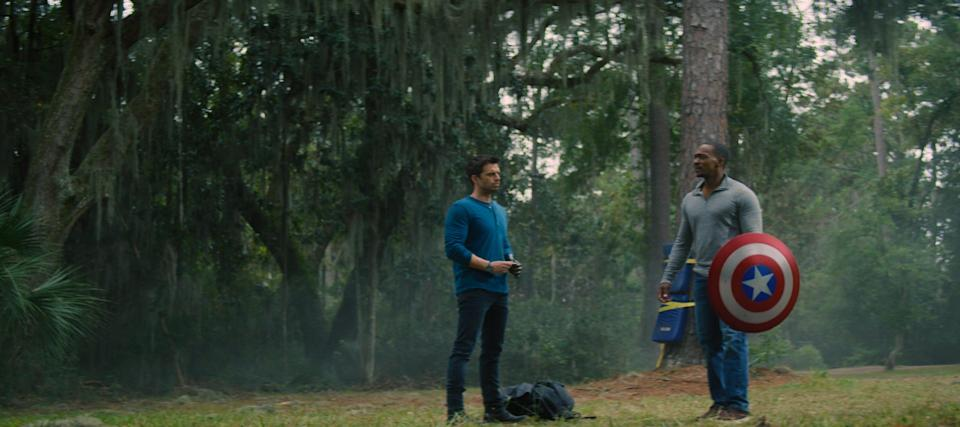 One shield-throwing scene between superfriends Bucky Barnes (Sebastian Stan, left) and Sam Wilson (Anthony Mackie) was key to Sam wanting to become the new Captain America, Mackie says.