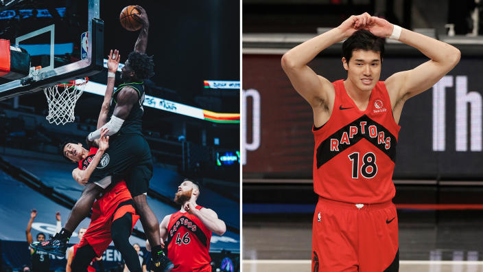 Yuta Watanabe has no regrets about ending up on an Anthony Edwards poster. (Minnesota Timberwolves/Getty Images)