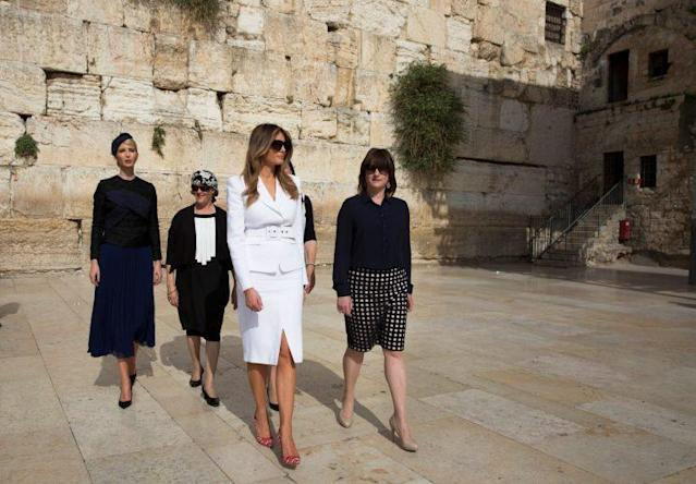 First Lady Melania Trump and Ivanka Trump leave the Western Wall, Judaism's holiest prayer site, in Jerusalem's Old City May 22, 2017. (Photo: Reuters/Heidi Levine/Pool)