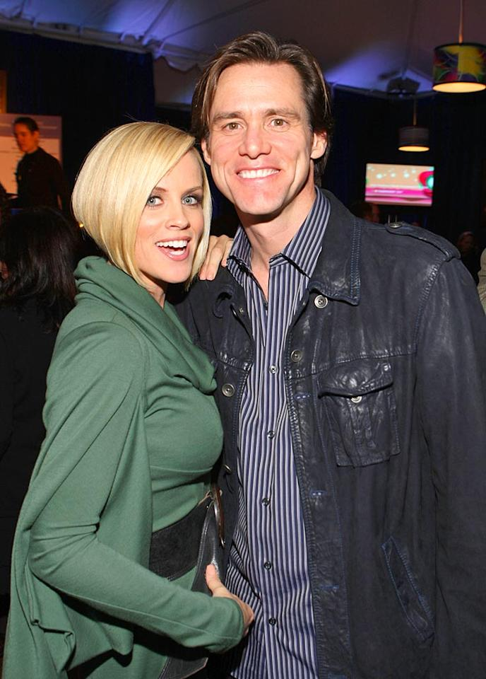 "Jenny and her man Jim Carrey pose for a cute photo. John Shearer/<a href=""http://www.wireimage.com"" target=""new"">WireImage.com</a> - October 11, 2007"