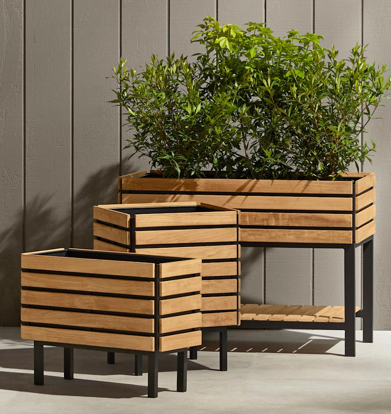Elevate your plants with these gorgeous teak containers. (Photo: Rejuvenation)