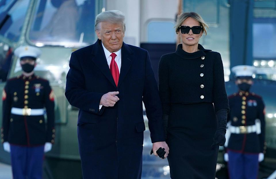 <p>Donald and Melania Trump arrive in Mar a Lago after departing the White House</p> (AFP via Getty Images)