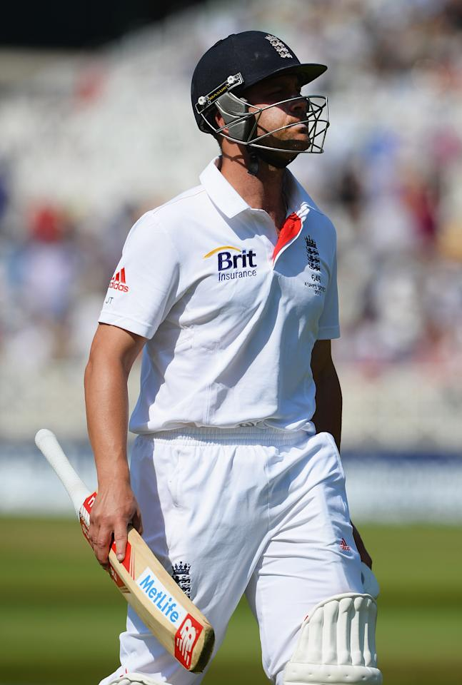NOTTINGHAM, ENGLAND - JULY 11: Jonathan Trott of England walks back after being dismissed by Mitchell Starc of Australia during day two of the 1st Investec Ashes Test match between England and Australia at Trent Bridge Cricket Ground on July 11, 2013 in Nottingham, England.  (Photo by Laurence Griffiths/Getty Images)