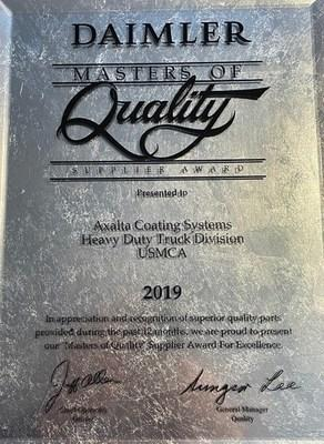 For 10 consecutive years, Axalta received the 2019 Masters of Quality supplier award from Daimler Trucks North America.
