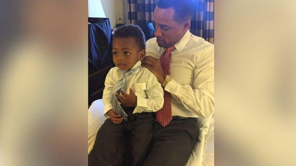 PHOTO: Hill Harper and his son wear matching shirts to celebrate the day the adoption was finalized. (Angela Daves-Haley)
