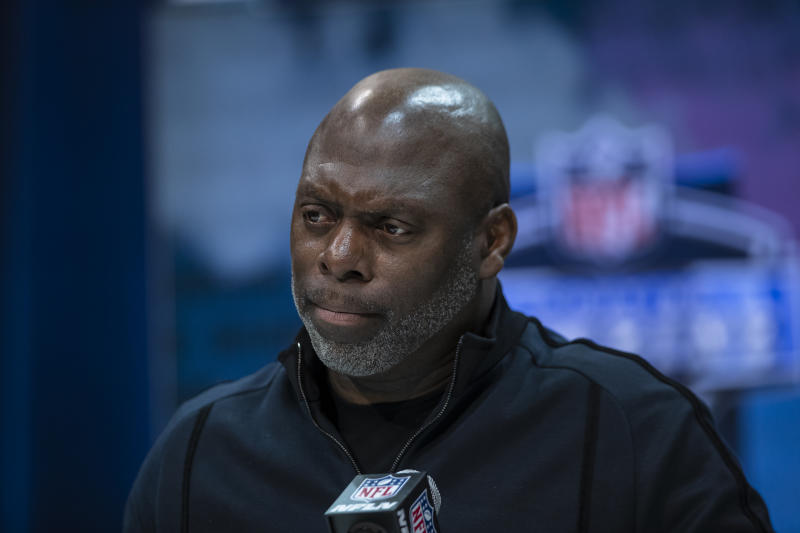 Anthony Lynn speaks during a news conference at the NFL scouting combine.