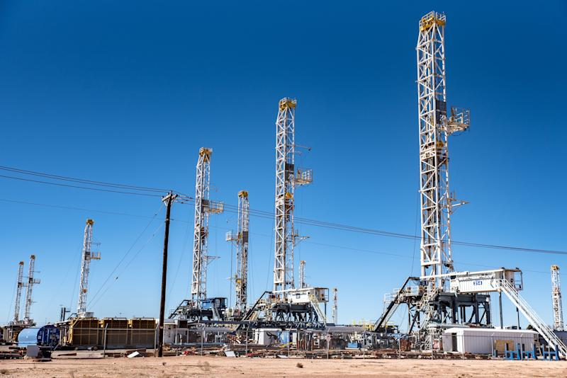 Oil rigs in the Permian Basin area of Odessa, Texas. Exxon Mobil plans to doubleits production in the Permian Basin to 1 million barrels per day over the next five years. (Sergio Flores/Bloomberg via Getty Images)