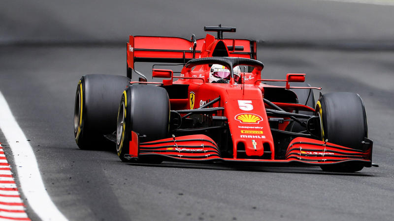 Sebastian Vettel is pictured driving during the Hungarian Grand Prix.