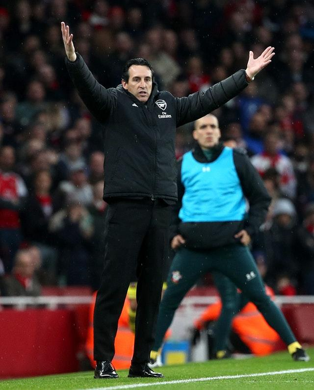 Arsenal manager Unai Emery is under pressure after his side's draw to Southampton (Yui Mok/PA)