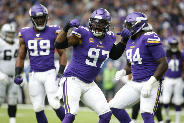 Minnesota Vikings defensive end Everson Griffen (97) celebrates after a sack during the first half of an NFL football game against the Oakland Raiders, Sunday, Sept. 22, 2019, in Minneapolis. (AP Photo/Bruce Kluckhohn)