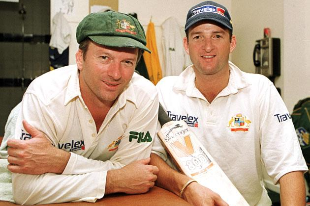 Steve and Mark Waugh of Australia reflect on their centuries, after the 2nd day of the 5th Ashes Test between England and Australia at The AMP Oval, London. Mandatory Credit: Hamish Blair/ALLSPORT