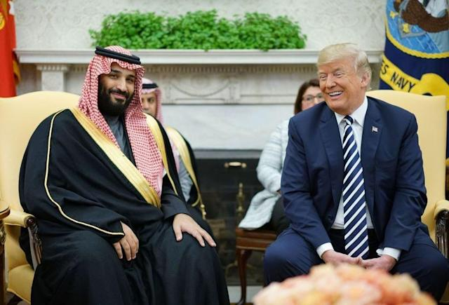 President Trump with Crown Prince Mohammed bin Salman at the Oval Office in 2018. (Photo: AFP)